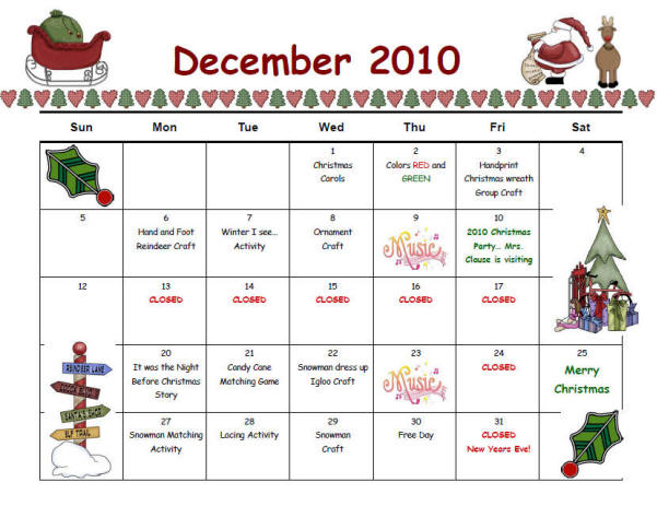 Calendar Monthly Activities : Ashley s lil angels childcare